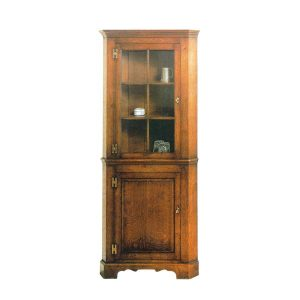 Solid Oak Corner Cabinet - Wooden Dressers & Cupboards - Tudor Oak, UK