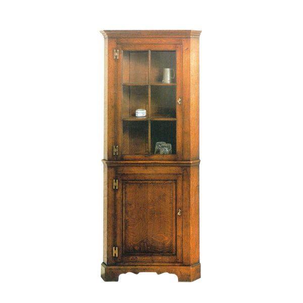 Solid Oak Corner Cabinet - Wooden Dressers & Cupboards - Tudor Oak, UK