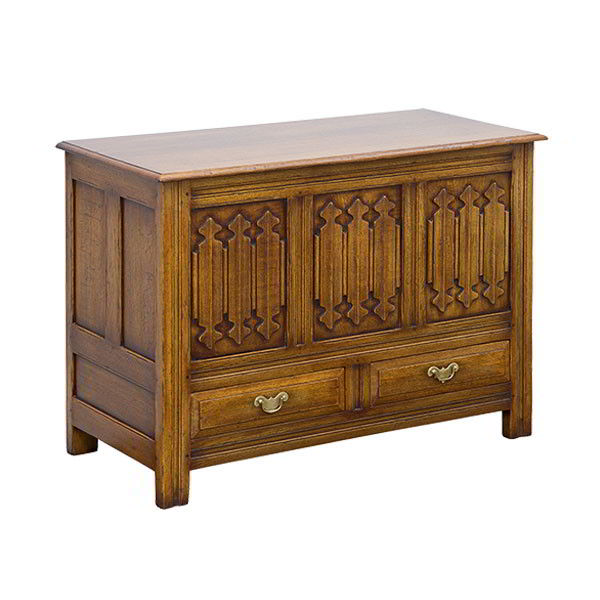 Blanket Chest with Carving - Solid Oak Blanket Boxes - Tudor Oak, UK