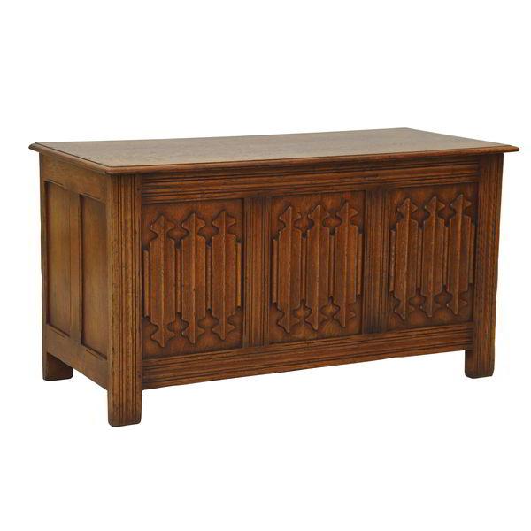 Wooden Blanket Box with Carving - Oak Blanket Boxes - Tudor Oak, UK