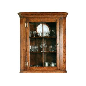 Wall Display Cabinet - Solid Oak Dressers & Cupboards - Tudor Oak, UK
