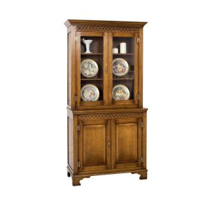 Small Display Cabinet - Solid Oak Dressers & Cupboards - Tudor Oak, UK