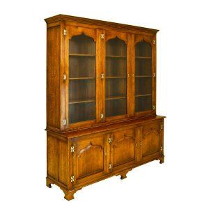 Tall Display Cabinet - Solid Oak Dressers & Cupboards - Tudor Oak, UK