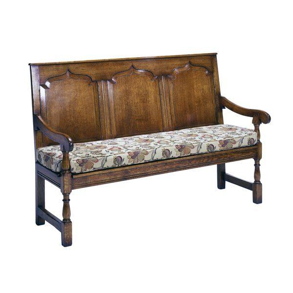 Hallway Bench with Back - Oak Benches, Settles & Stools - Tudor Oak UK