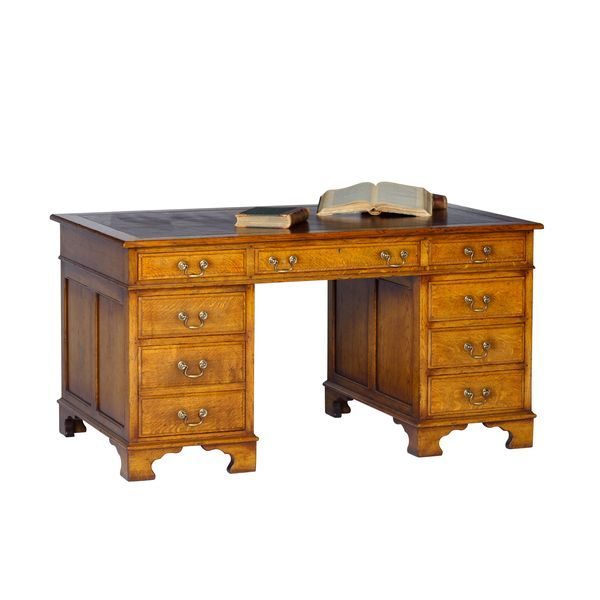 Executive Desk - Solid Oak Desks & Writing Tables - Tudor Oak, UK