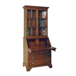 Bureau with Bookcase Top - Solid Oak Writing Bureau Desks - Tudor Oak