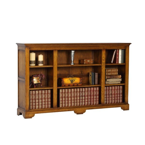 Low & Wide Wooden Bookshelves - Solid Oak Bookcases - Tudor Oak, UK