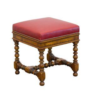 Leather Stool - Oak Benches, Settles & Stools - Tudor Oak, UK