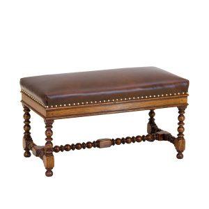 Leather Bench - Oak Benches, Settles & Stools - Tudor Oak, UK