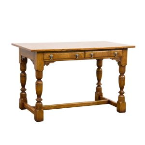 Slim Desk with 2 Drawers - Solid Oak Writing Desks - Tudor Oak, UK