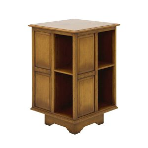 Solid Oak Revolving Bookcase - Wooden Magazine Racks - Tudor Oak, UK