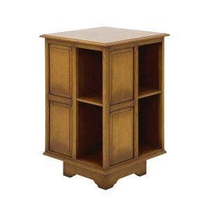 Solid Oak Revolving Bookcase - Wooden Magazine Racks - Tudor Oak, UK