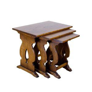 Wooden Nest of Tables - Solid Oak Coffee Tables - Tudor Oak, UK