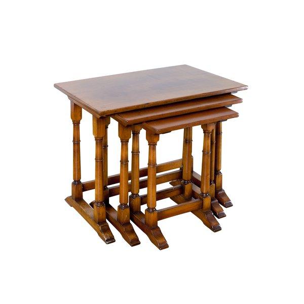 Oak Nest of Coffee Tables - Solid Oak Coffee Tables - Tudor Oak, UK