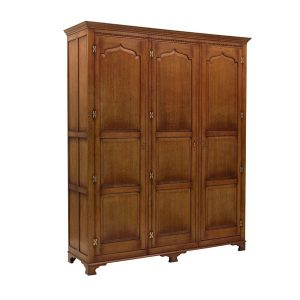 Large Oak 3 Door Wardrobe - Solid Oak Wardrobes - Tudor Oak, UK