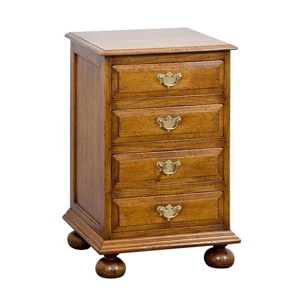 Bedside Chest of Drawers - Solid Oak Bedside Tables - Tudor Oak, UK