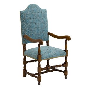 Classic Armchair With High Back - Wooden Dining Chairs - Tudor Oak, UK