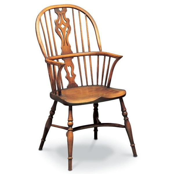 Traditional Handmade Georgian Windsor Chair with Arms - Tudor Oak, UK