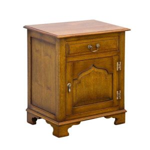 English Oak Bedside Cabinet - Solid Oak Bedside Tables - Tudor Oak, UK
