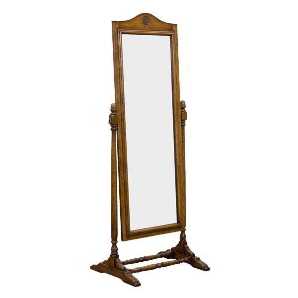 Free Standing Full Length Mirror - Oak Cheval mirror - Tudor Oak, UK