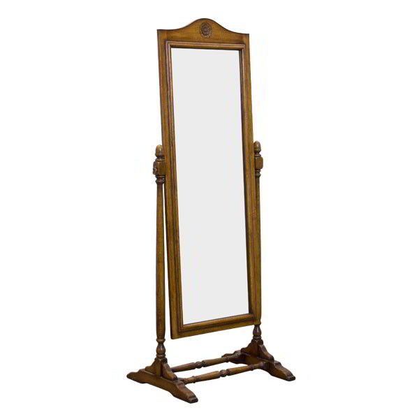 Free Standing Full Length Mirror - Oak Cheval mirror - Tudor Oak, UK
