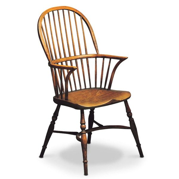 Stick Back Chair with Arms - Oak Windsor Chairs - Tudor Oak, UK