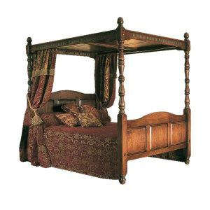 Four Poster Bed with Canopy - Bespoke Solid Oak Beds - Tudor Oak, UK