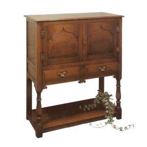 Wooden Cocktail Cabinet - Oak Display & Wine Cabinets - Tudor Oak, UK