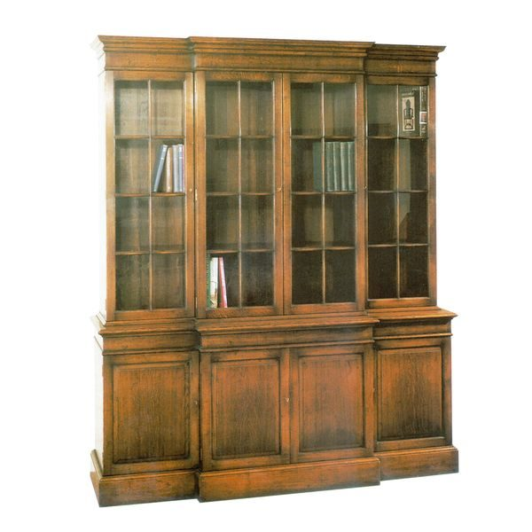 Bookcase with Glass Doors - Oak Bookcases & Bookshelves - Tudor Oak UK