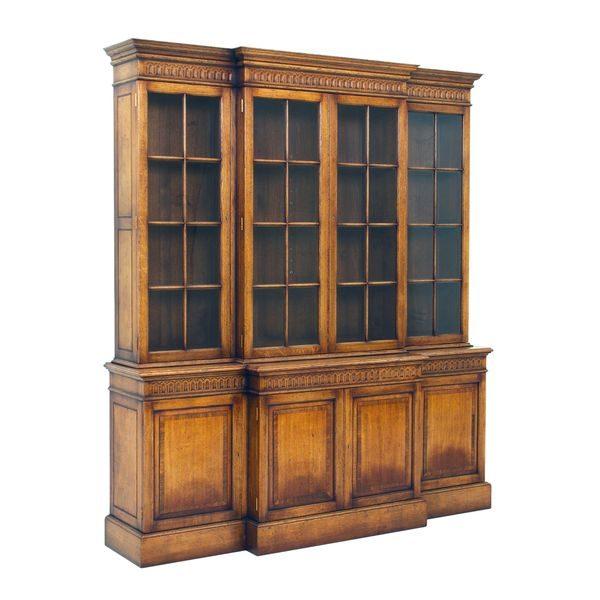 Carved Oak Bookcase - Solid Oak Bookcases & Bookshelves - Tudor Oak