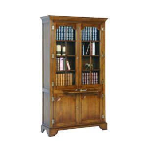 Bookcase with Doors - Solid Oak Bookcases & Bookshelves - Tudor Oak