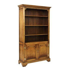 Oak Bookshelves with Doors - Solid Wood Bookcases - Tudor Oak, UK