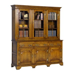 Oak Bookcase with Drawers - Wooden Bookcases & Bookshelves - Tudor Oak