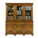 Oak Bookcase with Drawers - Wooden Bookcases & Bookshelves - Tudor Oak