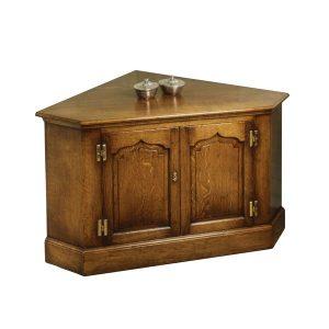 Oak Corner TV Unit - Oak TV Cabinets & Media Units - Tudor Oak, UK