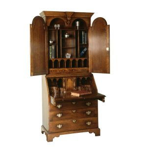 Bookcase Bureau - Solid Oak Writing Bureau Desks - Tudor Oak, UK