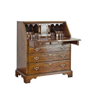 Wooden Bureau Desk - Solid Oak Writing Bureau Desks - Tudor Oak, UK