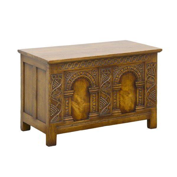 Carved Oak Blanket Box - Solid Oak Blanket Boxes - Tudor Oak, UK