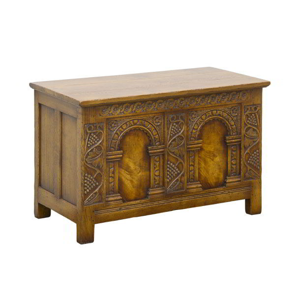 Carved Oak Blanket Box - Solid Oak Blanket Boxes - Tudor Oak, UK