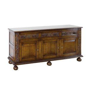 Carved Wide Sideboard - Solid Oak Sideboards - Tudor Oak, UK