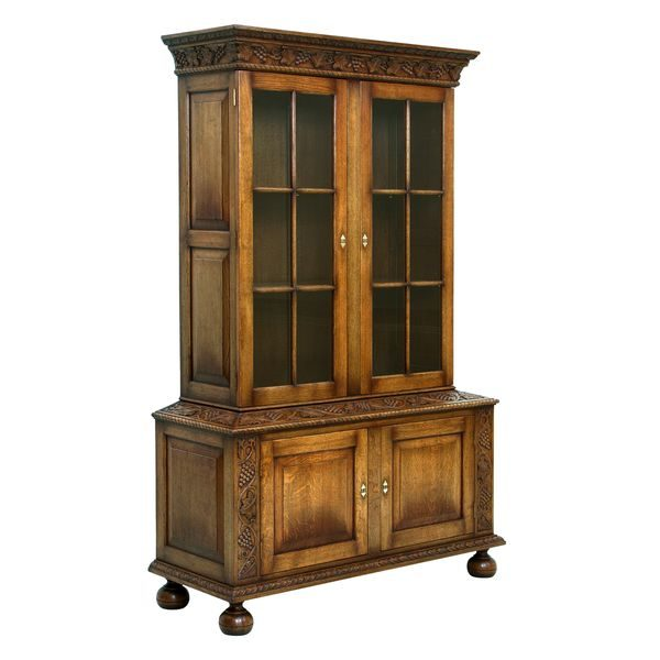 Carved Solid Wood Bookcase - Oak Bookcases, Bookshelves - Tudor Oak