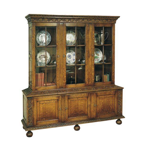 Carved Oak Bookcase with Doors - Wooden Bookcases - Tudor Oak, UK