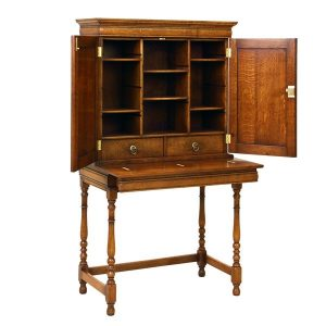 Small Bureau Desk - Solid Oak Writing Bureau Desks - Tudor Oak, UK