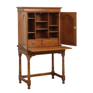 Small Cabinet Desk - Solid Oak Writing Bureau Desks - Tudor Oak, UK