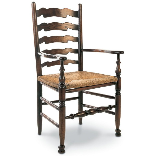 West Midlands Ladder Back Dining Chair with Arms - Tudor Oak, UK