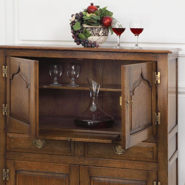 Wooden Wine Rack Cabinet - Oak Display & Wine Cabinets - Tudor Oak, UK