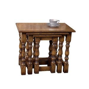 Classic Small Nest of Tables - Solid Oak Coffee Tables - Tudor Oak, UK