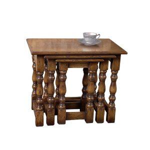 Classic Small Nest of Tables - Solid Oak Coffee Tables - Tudor Oak, UK