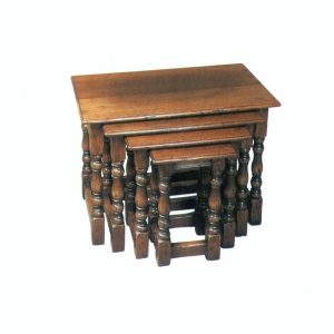 Classic Oak Nest of Tables - Solid Oak Coffee Tables - Tudor Oak, UK