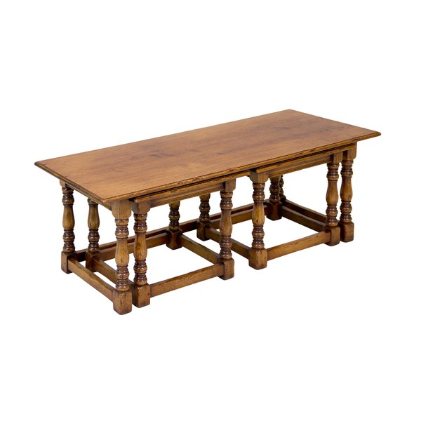Solid Oak Nest of Tables - Wooden Coffee Tables - Tudor Oak, UK